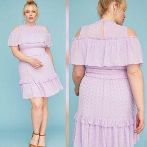 Lane Bryant lavender eyelet lace dress Ruffle trim